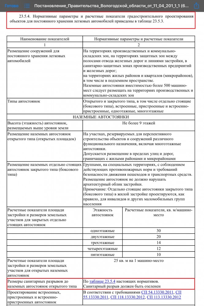 Нормы автостоянок автомобилей Вологодской области.JPG